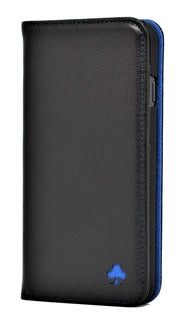 iPhone 7 Plus / 8 Plus Leather Case. Premium Slim Genuine Leather Stand Case/Cover/Wallet (Black & Blue)