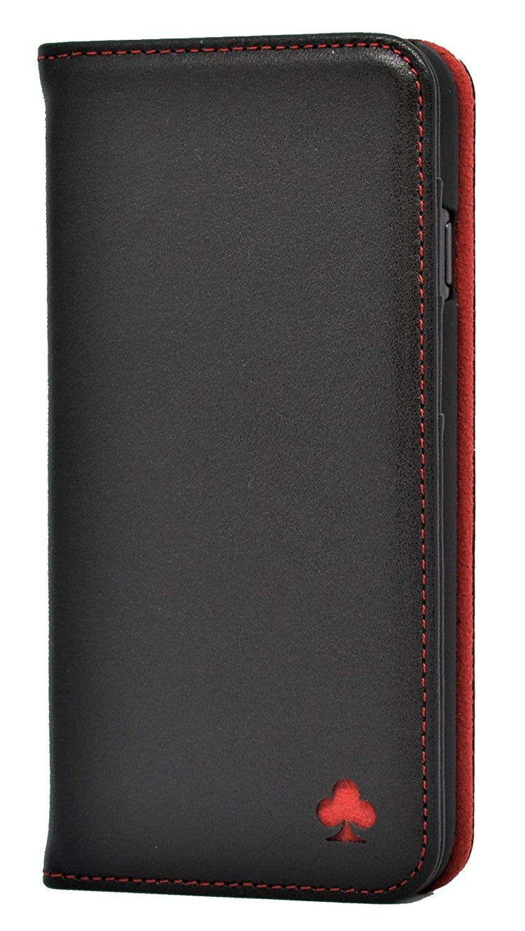 iPhone 7 Plus / 8 Plus Leather Case. Premium Slim Genuine Leather Stand Case/Cover/Wallet (Black & Red)