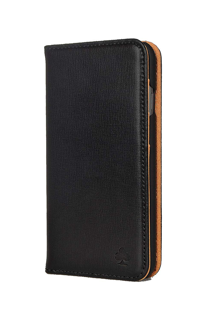 iPhone 7 Plus / 8 Plus Leather Case. Premium Slim Genuine Leather Stand Case/Cover/Wallet (Black & Tan)