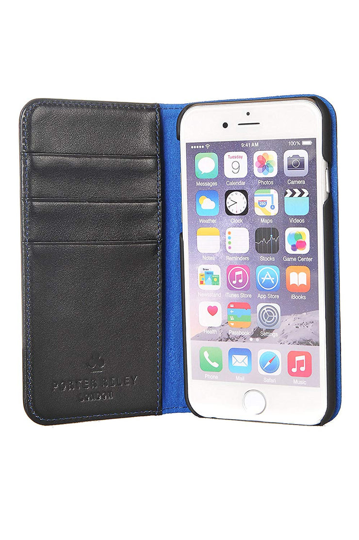 iPhone 7 Plus / 8 Plus Leather Case. Premium Slim Genuine Leather Stand Case/Cover/Wallet (Navy & Blue)