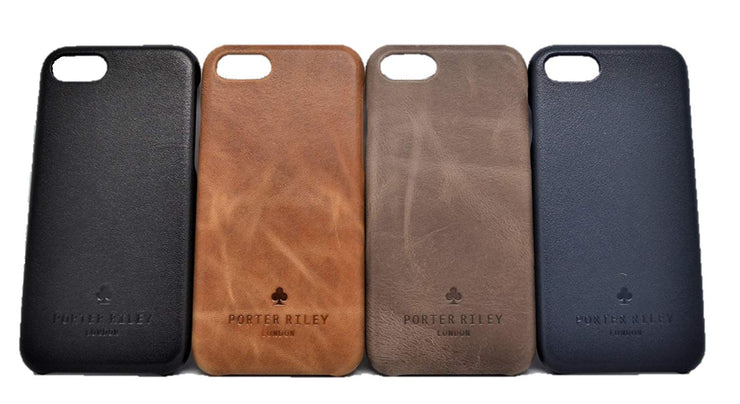 iPhone 7 Plus / 8 Plus Leather Case. Premium Slimline Back Genuine Leather Case (Black)