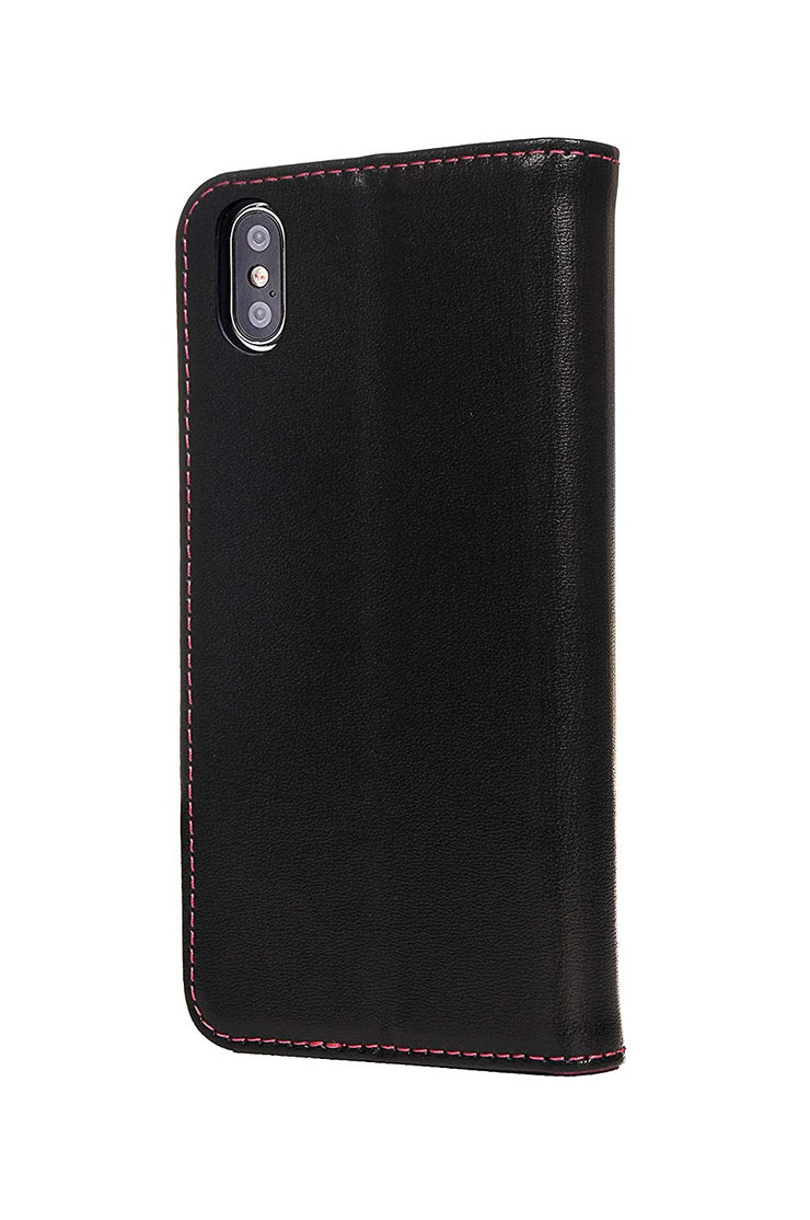 iPhone XS / X Leather Case. Premium Slim Genuine Leather Stand Case/Cover/Wallet (Black & Pink)