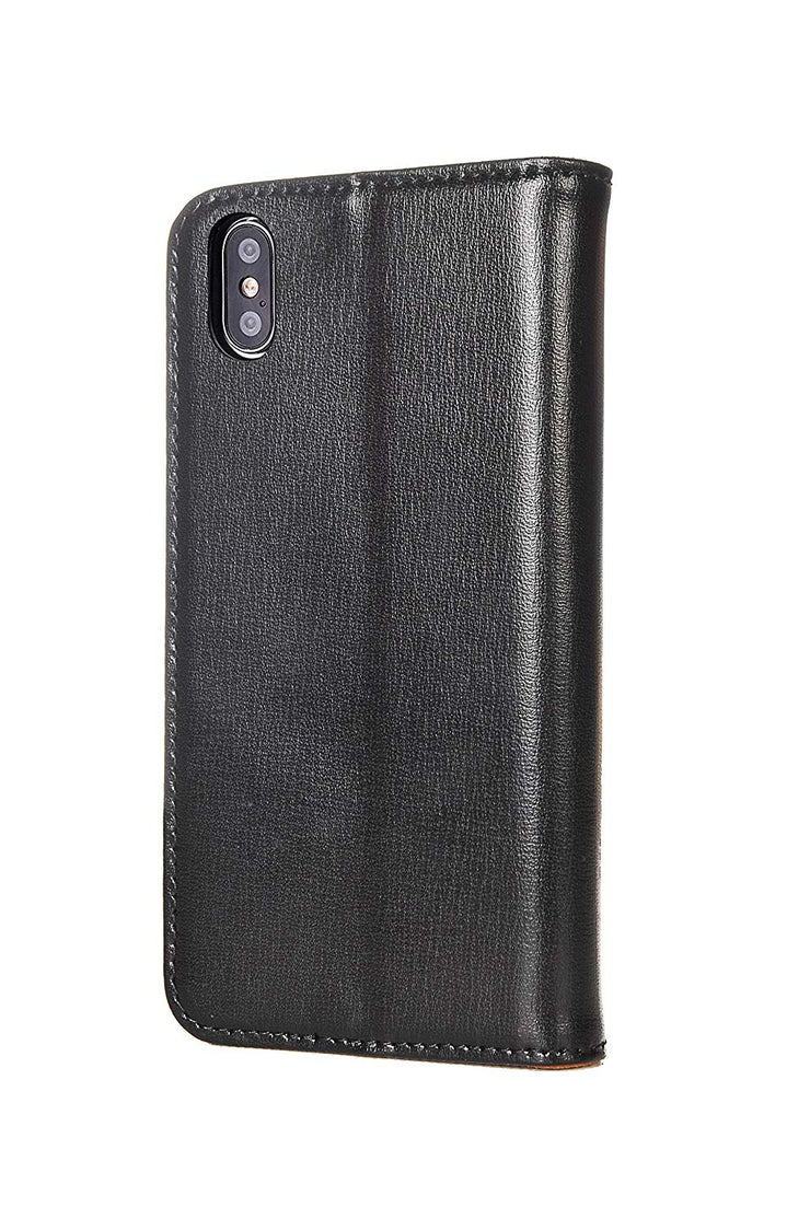 iPhone XS / X Leather Case. Premium Slim Genuine Leather Stand Case/Cover/Wallet (Black & Tan)
