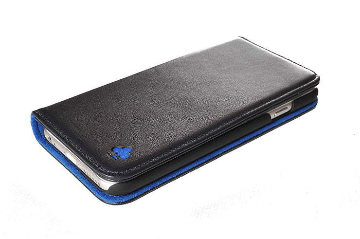 iPhone XS / X Leather Case. Premium Slim Genuine Leather Stand Case/Cover/Wallet (Navy & Blue)