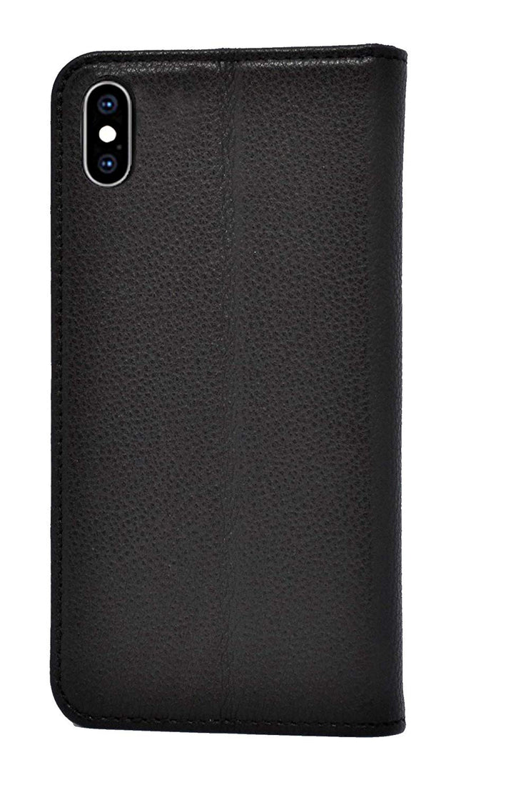 iPhone XS / X Leather Case. Premium Slim Genuine Leather Stand Case/Cover/Wallet (Pure Black)