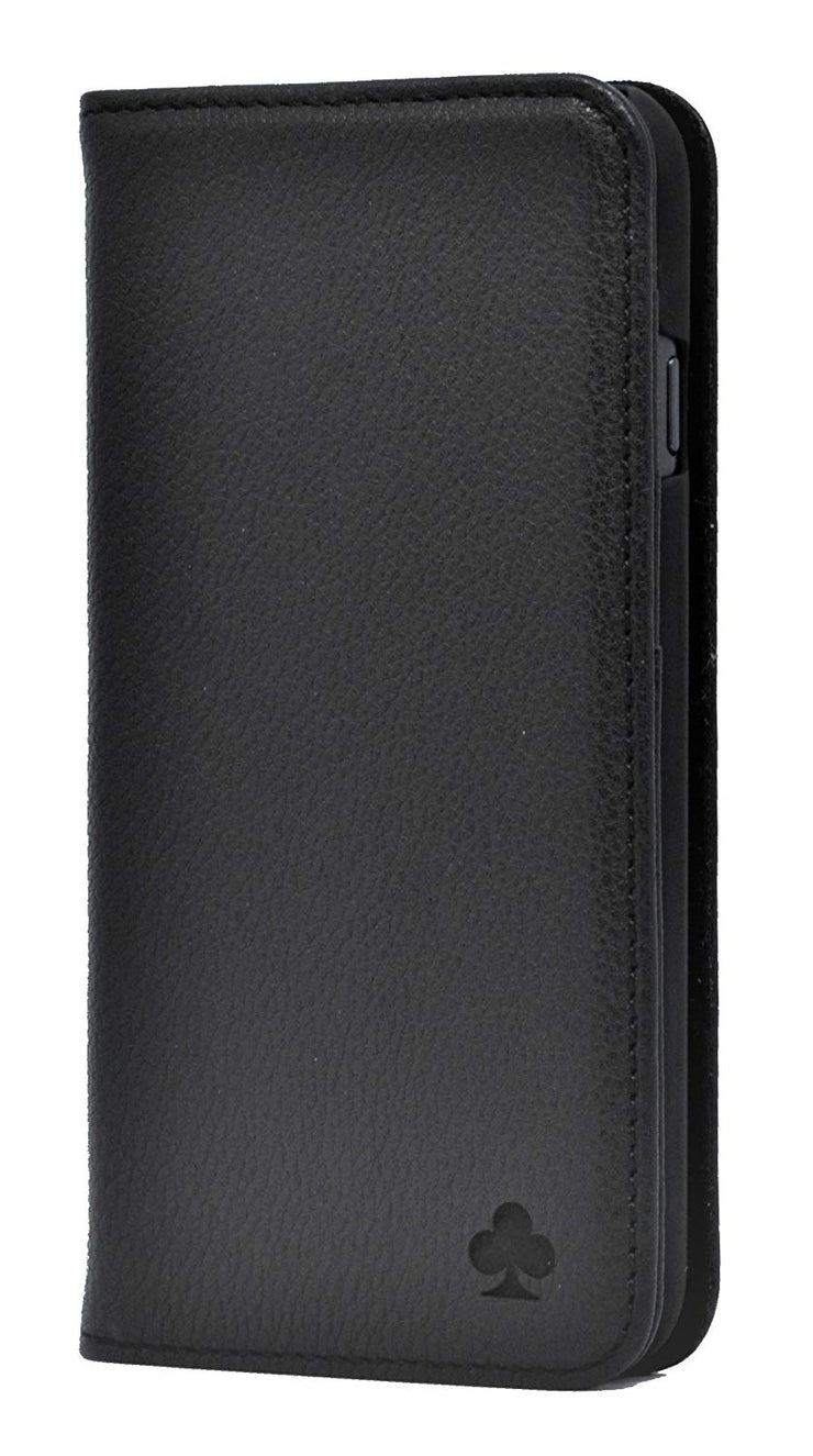 iPhone XR Leather Case. Premium Slim Genuine Leather Stand Case/Cover/Wallet (Pure Black)