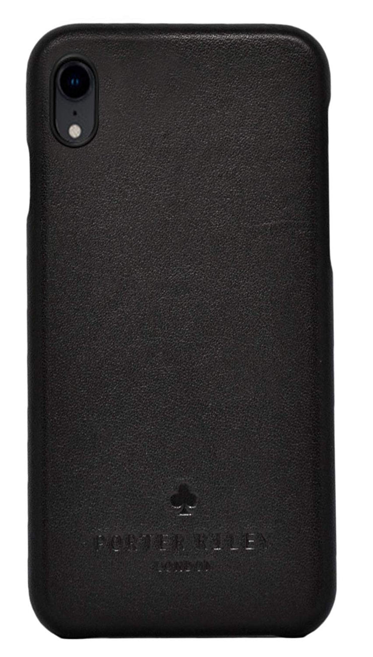 iPhone XR Leather Case. Premium Slimline Back Genuine Leather Case (Pure Black)
