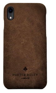 iPhone XR Leather Case. Premium Slimline Back Genuine Leather Case (Chocolate Brown)