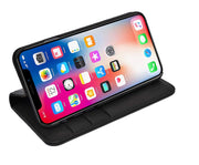 iPhone XS Max Leather Case. Premium Slim Genuine Leather Stand Case/Cover/Wallet (Pure Black)