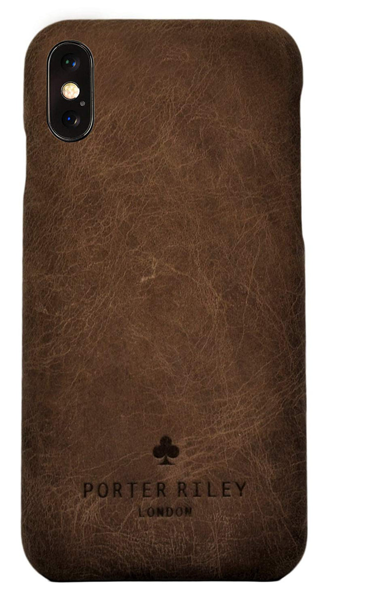 iPhone XS Max Leather Case. Premium Slimline Back Genuine Leather Case (Chocolate Brown)