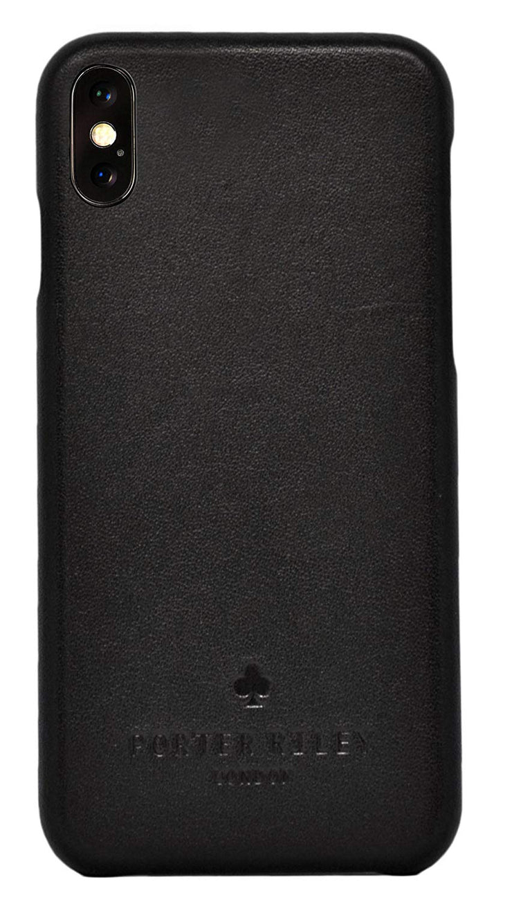 iPhone XS Max Leather Case. Premium Slimline Back Genuine Leather Case (Pure Black)