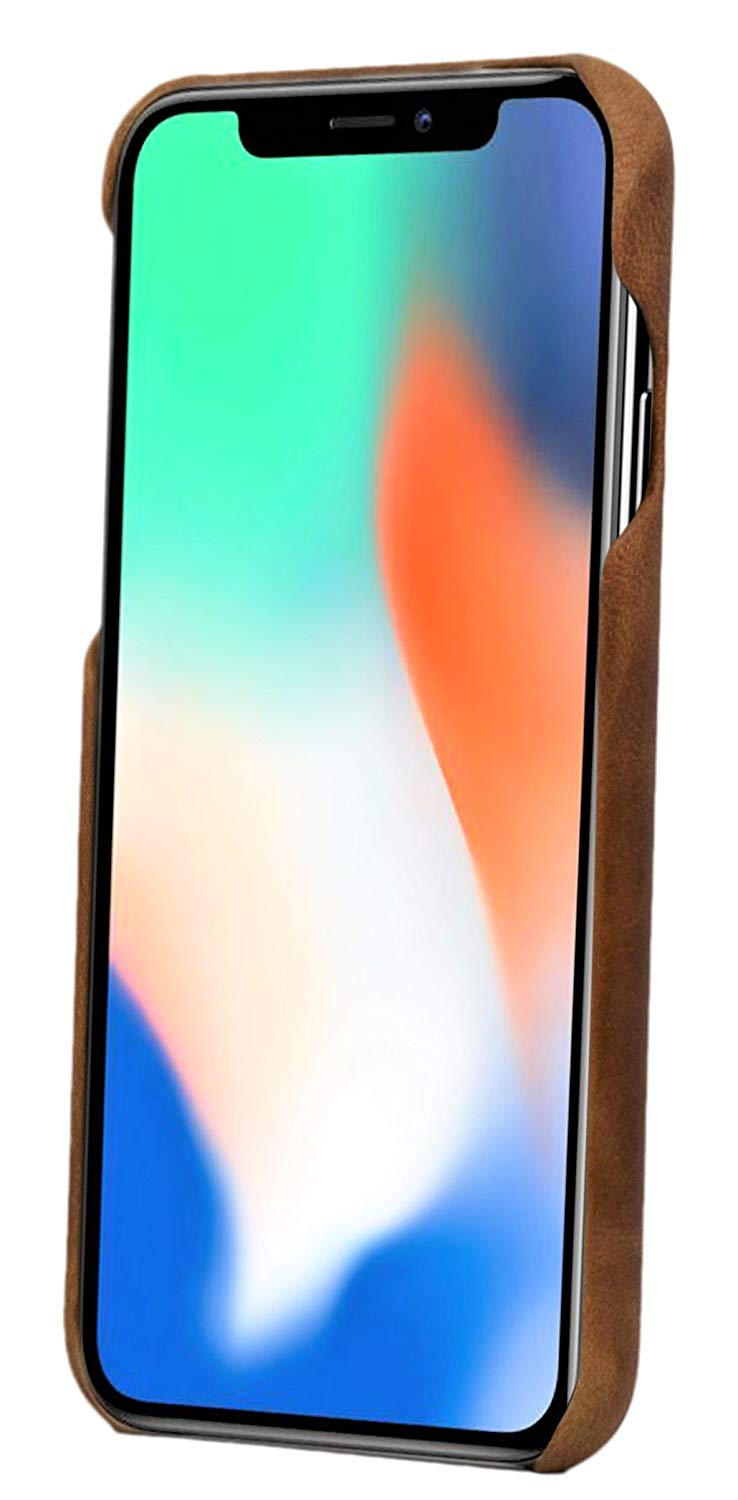iPhone XS Max Leather Case. Premium Slimline Back Genuine Leather Case (Tan)