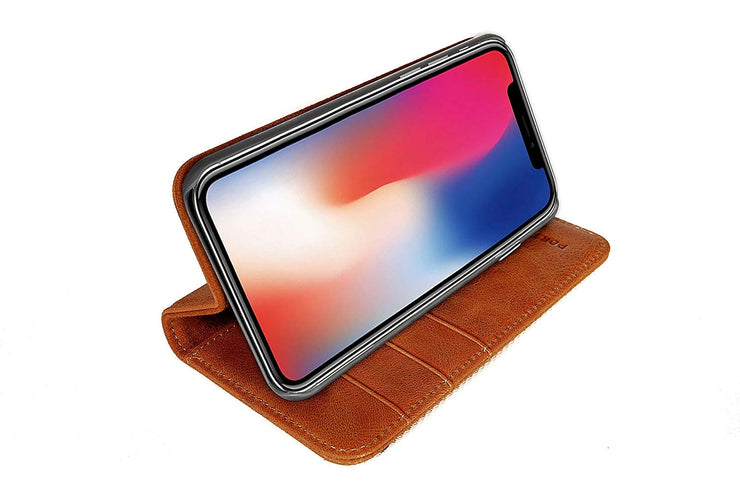 iPhone XS Max Leather Case. Premium Slim Genuine Leather Stand Case/Cover/Wallet (Tan)