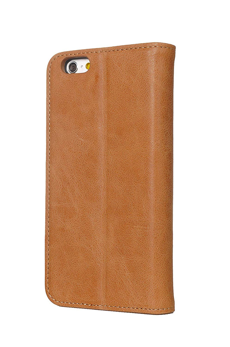 iPhone SE 2016 / 5S / 5 Leather Case. Premium Slim Genuine Leather Stand Case/Cover/Wallet (Tan)
