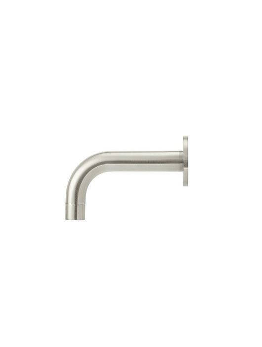 Meir Round Curved Basin Wall Spout 130mm - Brushed Nickel