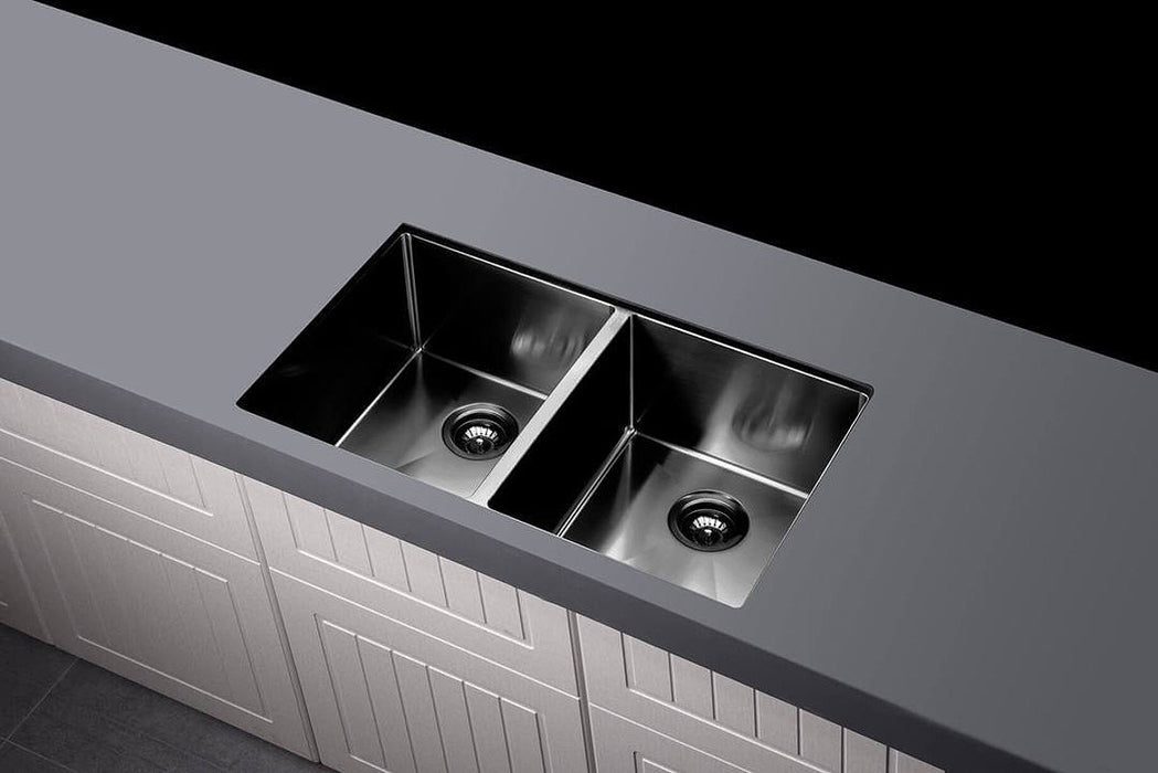 Meir Lavello Double Bowl Sink 760 x 440 - Gunmetal Black