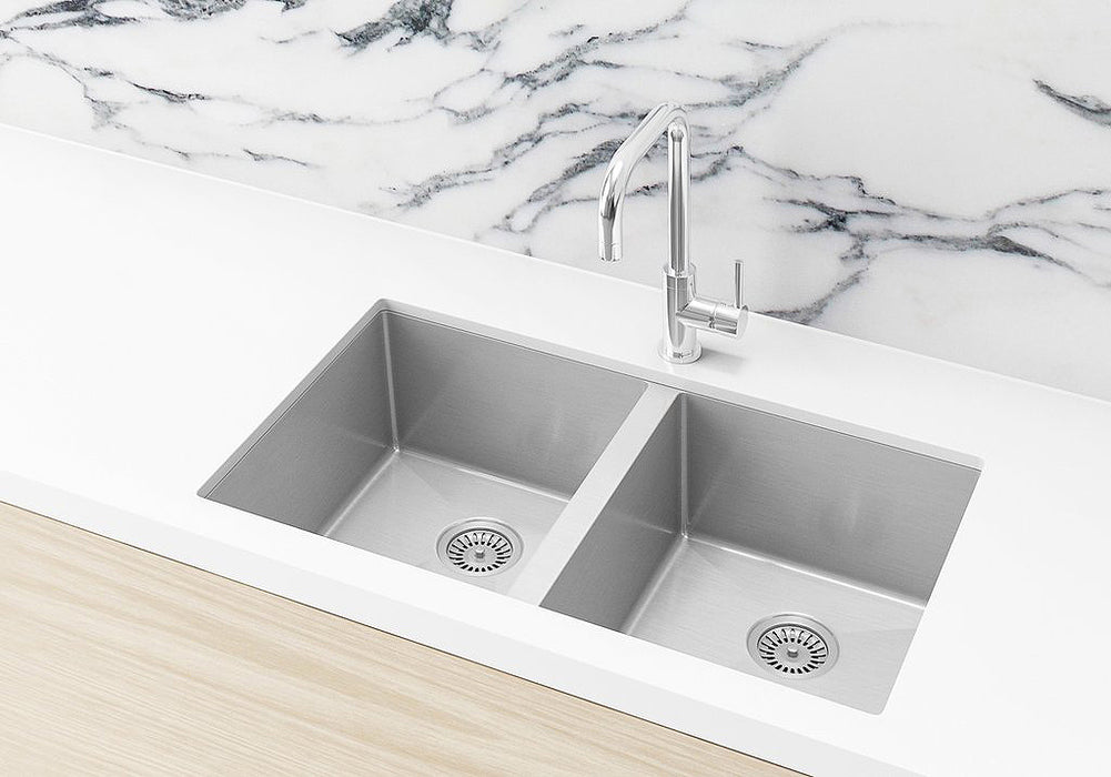 Meir Lavello Double Bowl Sink 760 x 440 - Brushed Nickel