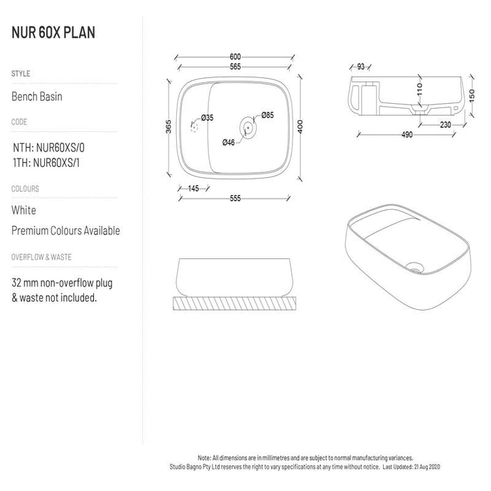 Studio Bagno NUR 60X Plan - 1TH - Matte White
