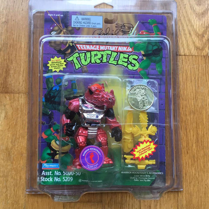1995 Ninja Turtles WARRIOR ROCKSTEADY From Mirage Studios Signed Laird MOC