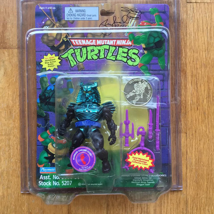 1995 Ninja Turtles WARRIOR CHROME DOME From Mirage Studios Signed Laird MOC