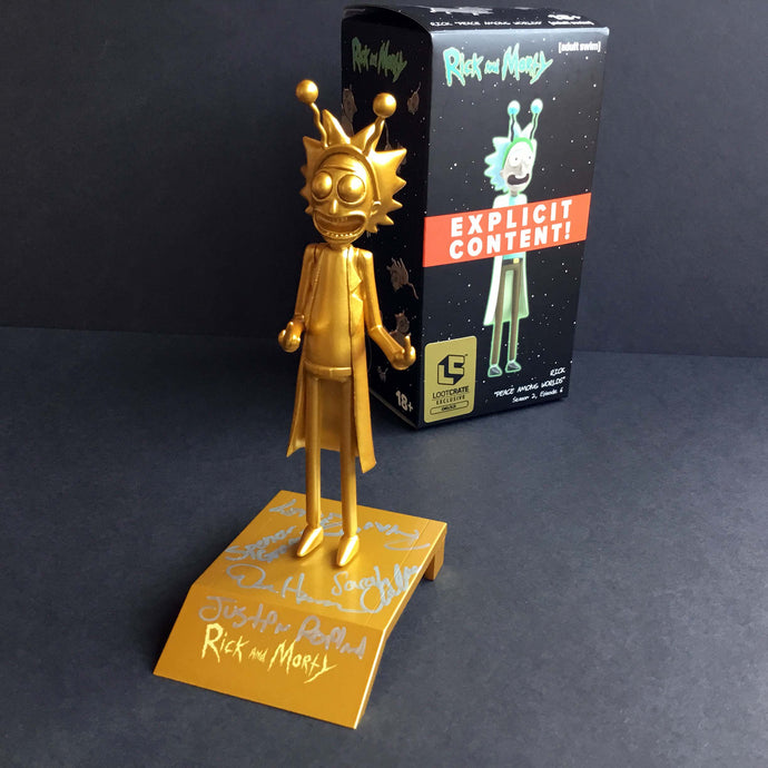 2017 SDCC RICK AND MORTY Loot Crate Gold Statue Signed by Creators / Voice Actors