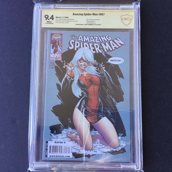 2009 Marvel AMAZING SPIDER-MAN 607  CBCS 9.4 SS Signed J Scott Campbell
