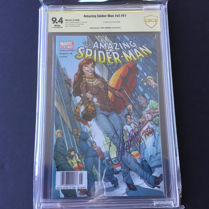 2003 Marvel Comics AMAZING SPIDER-MAN #51 CBCS 9.4 SS Signed by J Scott Campbell