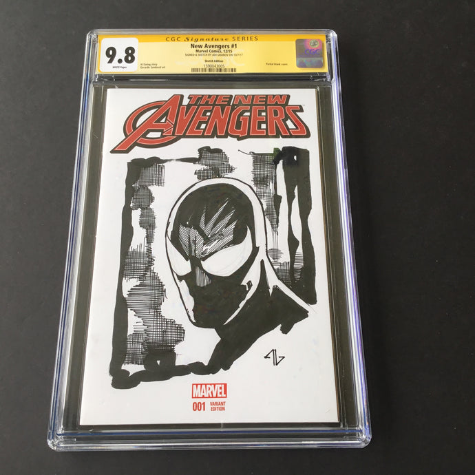 2015 Marvel NEW AVENGERS #1 CGC 9.8 SS ADI GRANOV Black Spider-man Costume Sketch