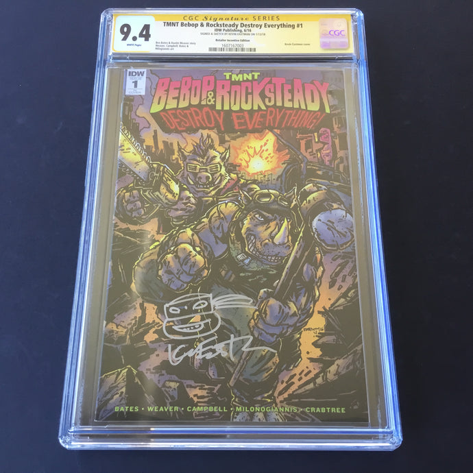 2016 TMNT Bebop & Rocksteady Destroy Everything #1 CGC 9.4 SS Signed Eastman