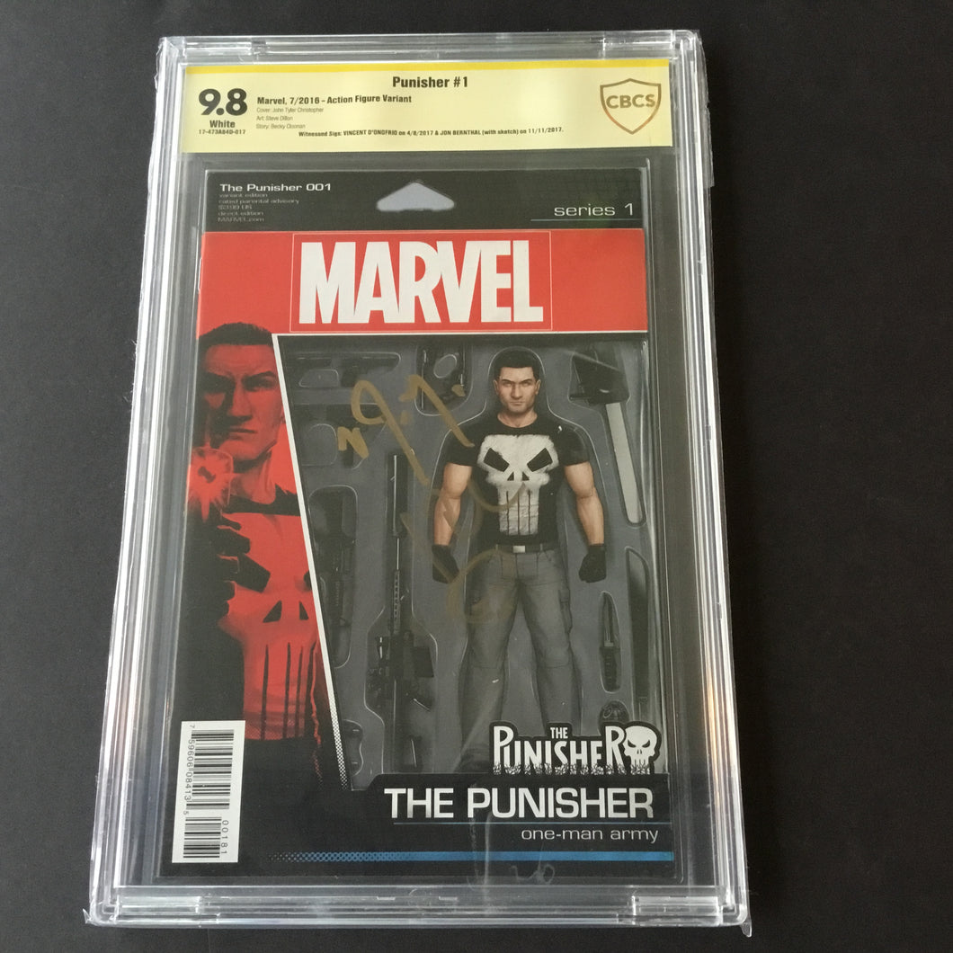 2017 Marvel PUNISHER #1 CBCS 9.8 SS Signed VINCENT D'ONOFRIO - JON BERNTHAL NM