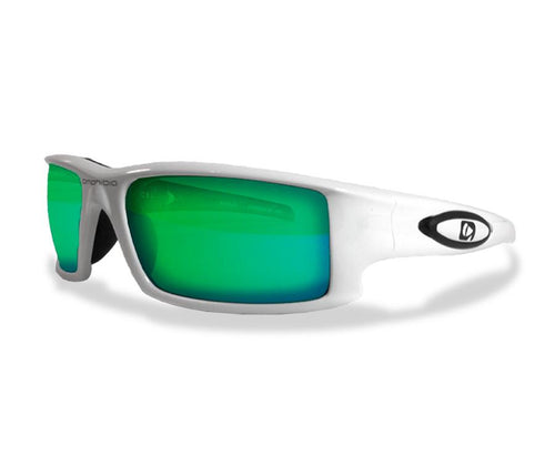Amphibia Polarized Sunglasses - DEPTHCHARGE Matte White/Blue Storm