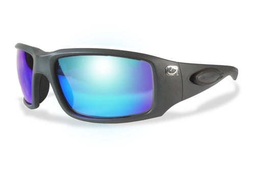 Amphibia ECLIPSE Polarized Sunglasses - Matte Gunmetal / Blue Shock