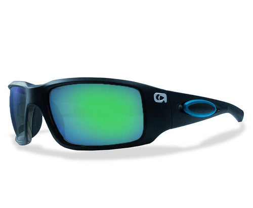 Amphibia ECLIPSE Polarized Sunglasses - Matte Black Blue Rubber / Blue Storm
