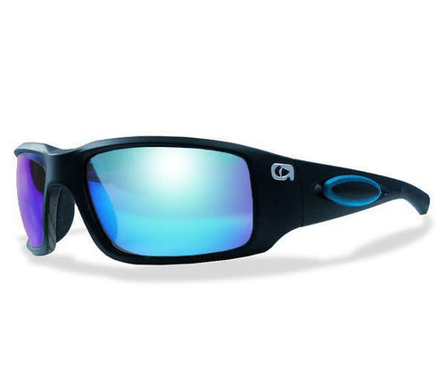 Amphibia ECLIPSE Polarized Sunglasses - Matte Black Blue Rubber / Blue Shock