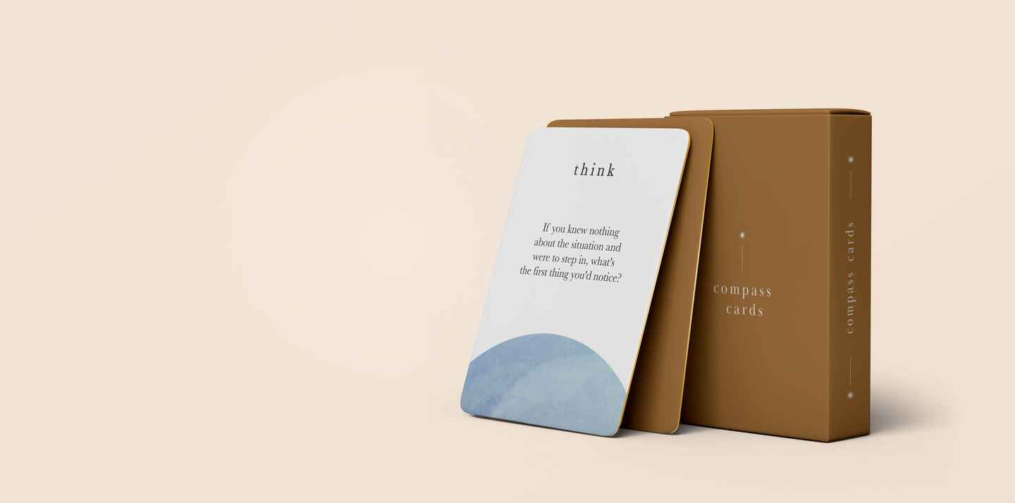 compass cards - a self-coaching tool by cady macon. High resolution image of box and a card.
