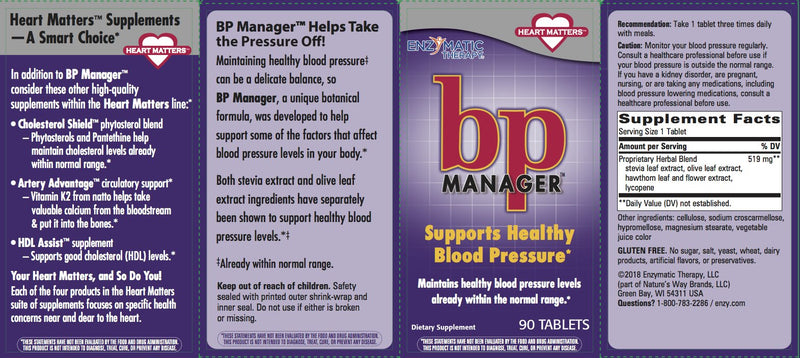 Enzymatic Blood Pressure Manager 90 Tabs