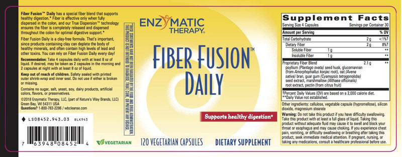 Enzymatic Fiber Fusion Daily 120 Vcaps