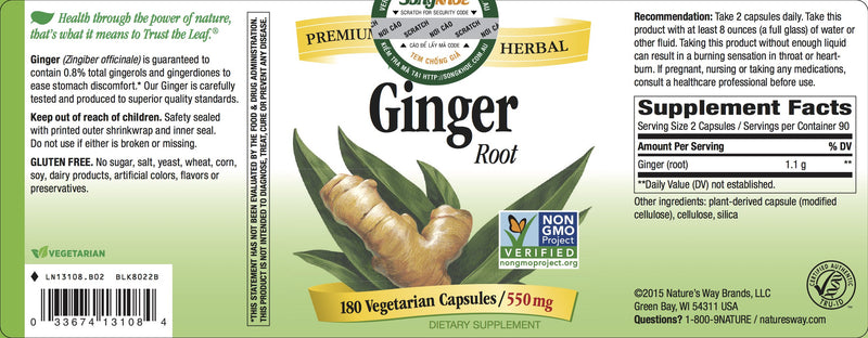 Nature's Way Ginger Root 180 Vcaps