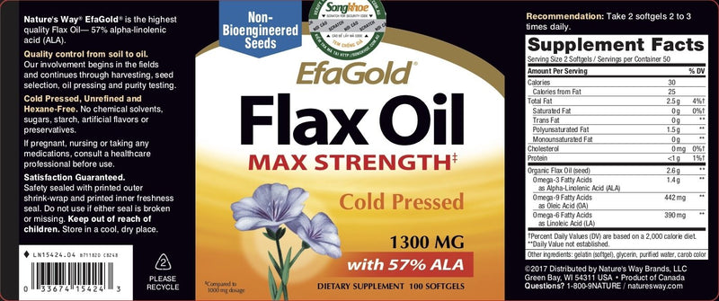 Nature's Way EfaGold Flax Oil 1,300 mg 100 softgels