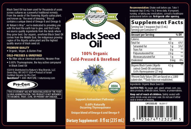 Nature's Way Organic Black Seed Oil 8 oz