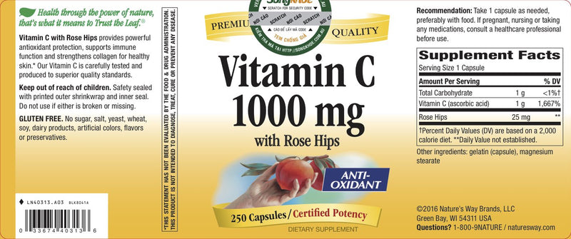 Nature's Way Vitamin C 1000 mg 250 Caps