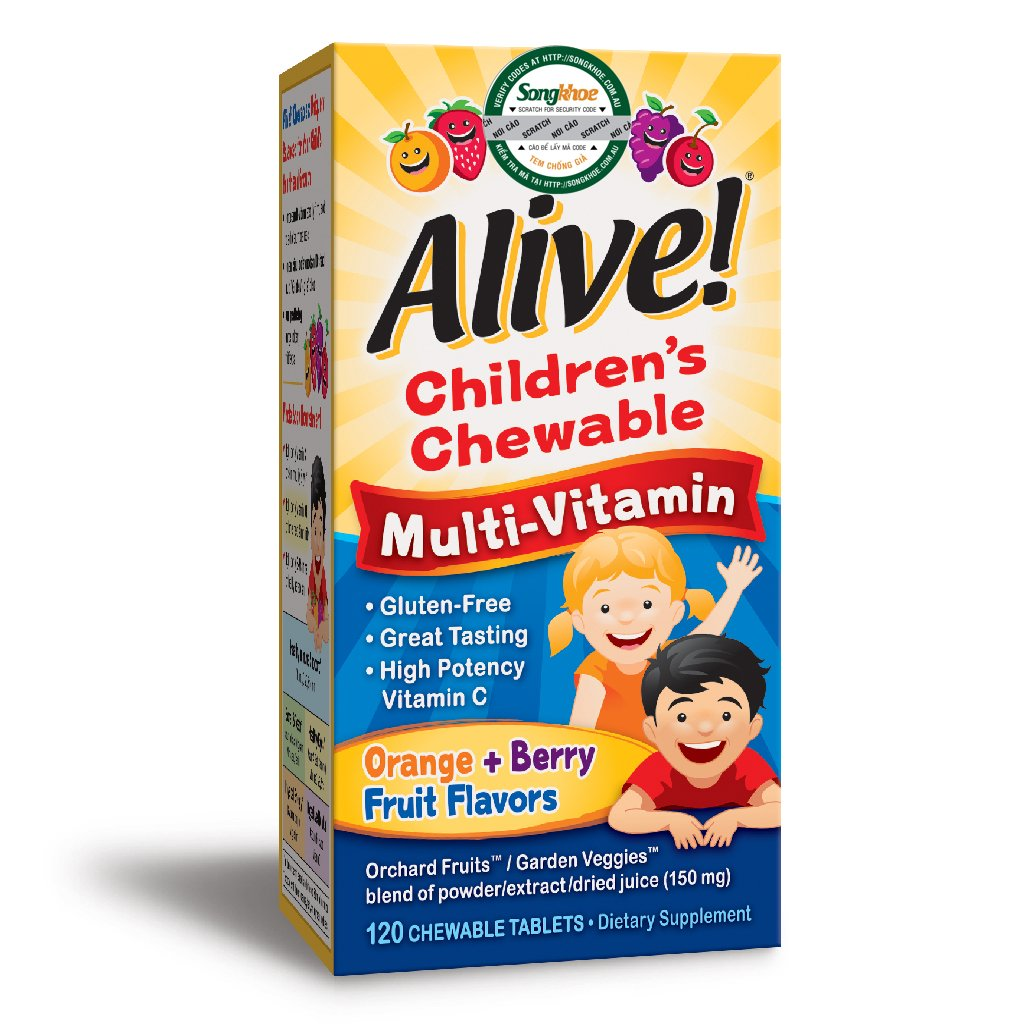 Alive Children's Multi Orange & Berry 120 Chewable Tabs