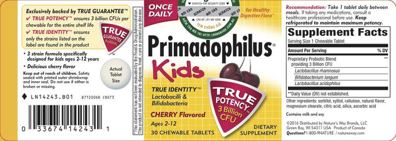 Nature's Way Primadophilus for Kids Chew Cherry 30 tabs