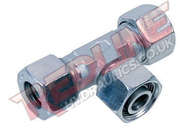 HYDRAULIC SWIVEL BRANCH TEE COMPRESSION FITTING DIN 2353 ETV- ( REDLINE )