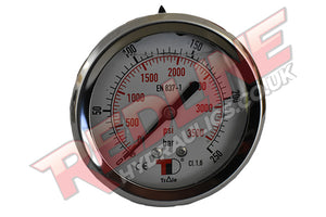 HYDRAULIC PRESSURE GAUGE 63MM REAR / BACK ENTRY  PG63R ( REDLINE )