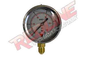 HYDRAULIC PRESSURE GAUGE 63MM BOTTOM ENTRY PG63B ( REDLINE )