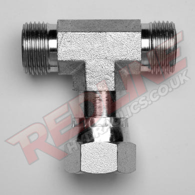ORFS MALE X ORFS MALE X ORFS FEMALE SWIVEL TEE ADA HYDRAULIC ADAPTOR  ( REDLINE OR-9020 )