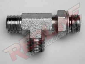 ORFS MALE X BSP ADJ MALE X ORFS MALE TEE HYDRAULIC ADAPTOR  ( REDLINE OR-9060 )