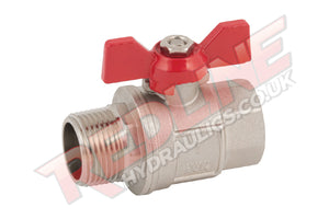 HYDRAULIC BALL VALVE 2 WAY BSP MALE FEMALE BUTTERFLY T HANDLE  VTMF ( REDLINE )
