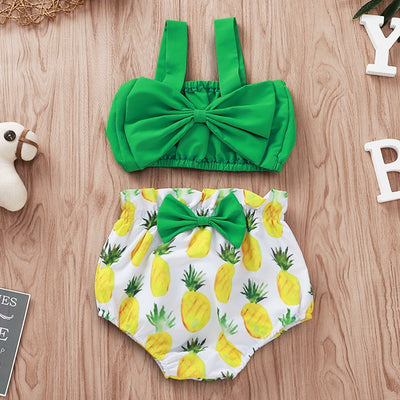 Green Bow Crop Top +Pineapple Baby Bottoms - The Childrens Firm